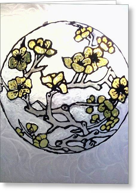 Chinese Glass Art Greeting Cards - Cherry Blossoms Stained Greeting Card by Ericka Ramos