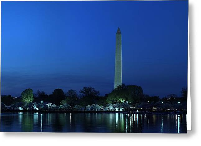 Government Greeting Cards - Cherry Blossoms Sunset at the Washington Monument Greeting Card by Metro DC Photography