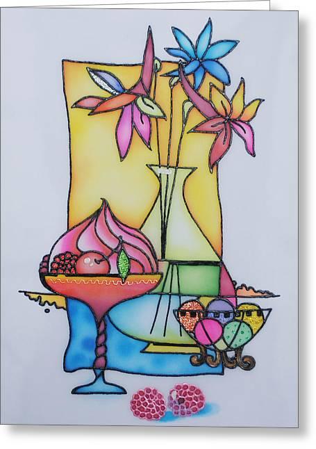 Flower Still Life Tapestries - Textiles Greeting Cards - Cherry dessert  Greeting Card by Tatiana  Antsiferova