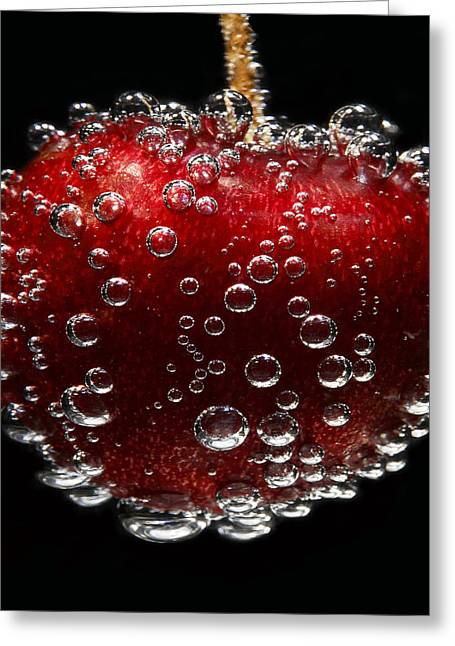 Surface Tension Greeting Cards - Cherry Greeting Card by Linda Wright