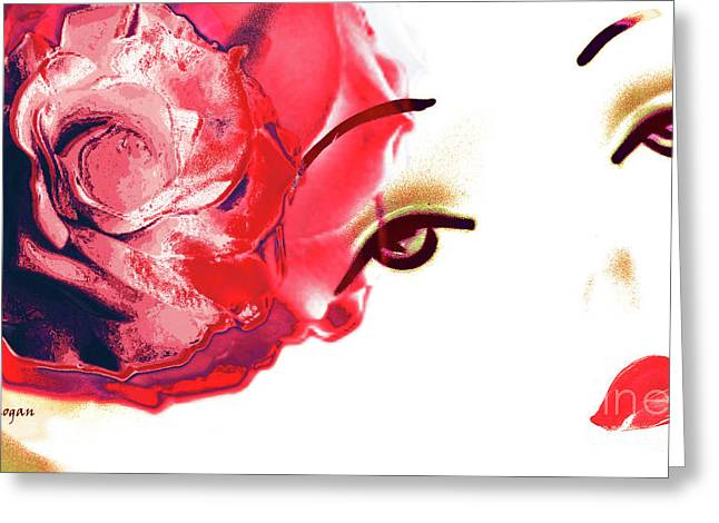 Card For Photographer Greeting Cards - Cherry Lips Red Rose Girl Greeting Card by Jayne Logan Intveld