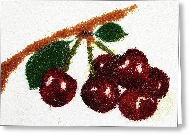 Orange Glass Greeting Cards - Cherry Greeting Card by Natalya A