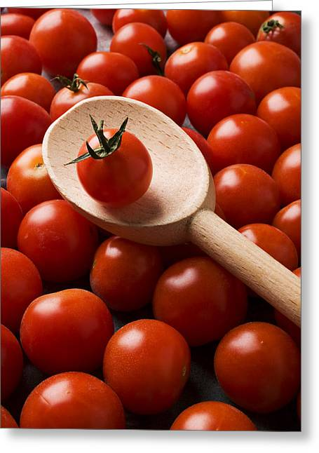 Wooden Spoon Greeting Cards - Cherry tomatoes and wooden spoon Greeting Card by Garry Gay