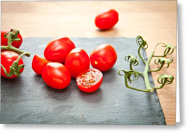 Lifestyle Greeting Cards - Cherry tomatoes Greeting Card by Tom Gowanlock