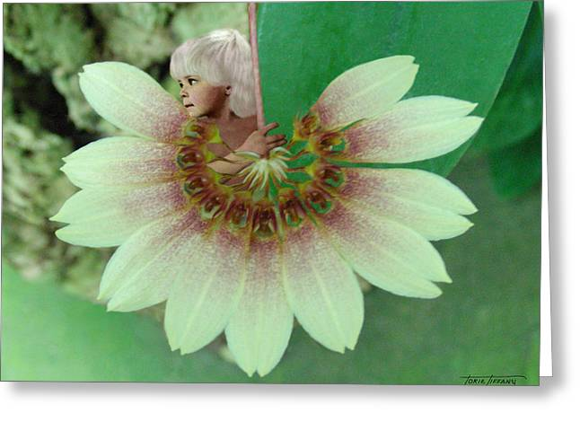 Floral Digital Art Digital Art Greeting Cards - Cherub Greeting Card by Torie Tiffany