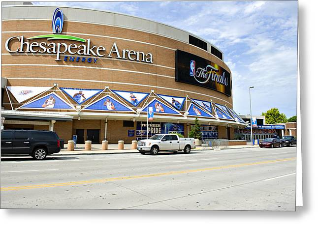 Basket Ball Game Greeting Cards - Chesapeake Arena Greeting Card by Malania Hammer