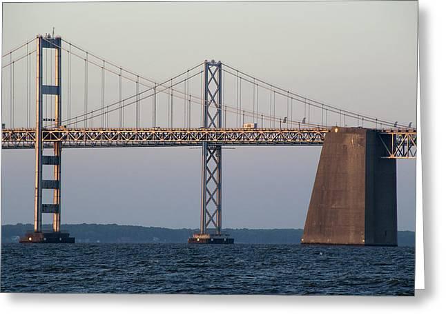 Sandy Point Park Greeting Cards - Chesapeake Bay Bridge - Maryland Greeting Card by Brendan Reals