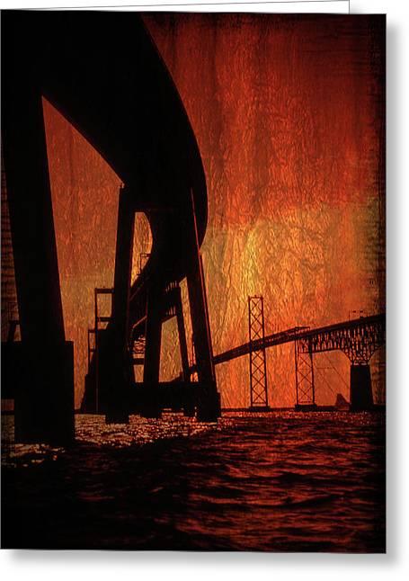 Chesapeake Bay Bridge Greeting Cards - Chesapeake Bay Bridge Artistic Greeting Card by Skip Willits