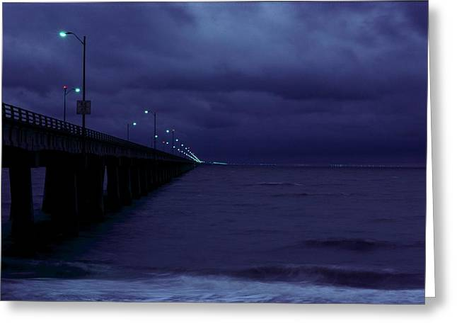 Chesapeake Bay Bridge Greeting Cards - Chesapeake Bay Bridge-tunnel, Night Greeting Card by Medford Taylor