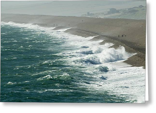 Longshore Drift Greeting Cards - Chesil Beach, Dorset Greeting Card by Adrian Bicker
