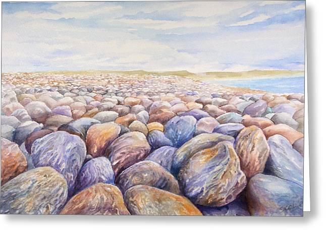 Chesil Beach Greeting Card by Merv Scoble