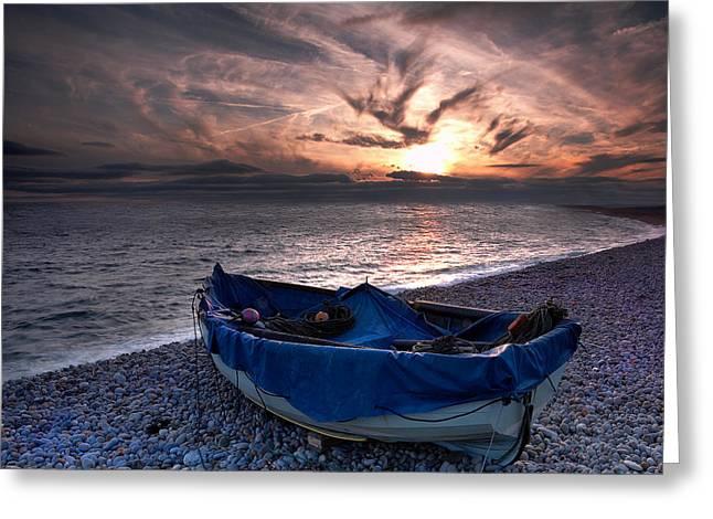 Kris Dutson Greeting Cards - Chesil Boat Greeting Card by Kris Dutson