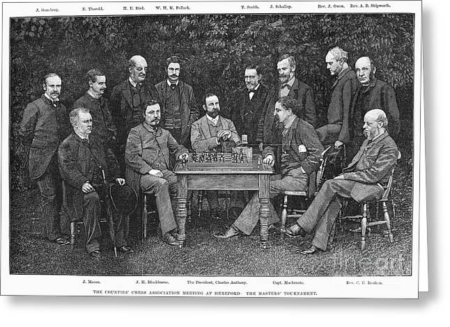 Chessmen Greeting Cards - Chess Association, 1885 Greeting Card by Granger