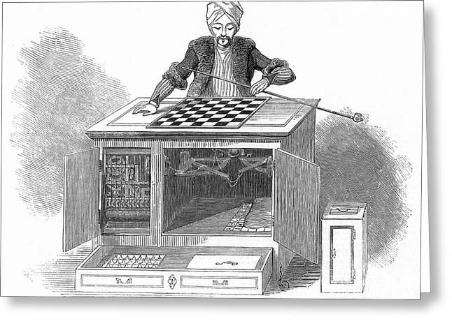 1770s Greeting Cards - Chess: Automaton, 1845 Greeting Card by Granger