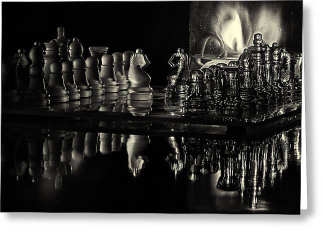 Game Piece Greeting Cards - Chess by Candlelight Greeting Card by Lori Coleman