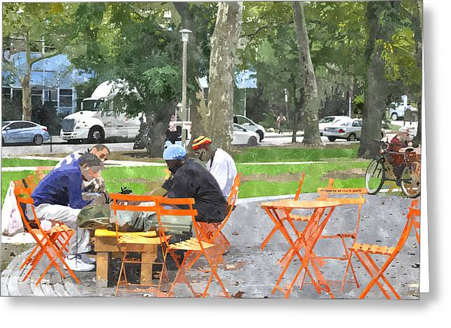 Chess Player Greeting Cards - Chess Players in Clark Park Greeting Card by Andrew Dinh