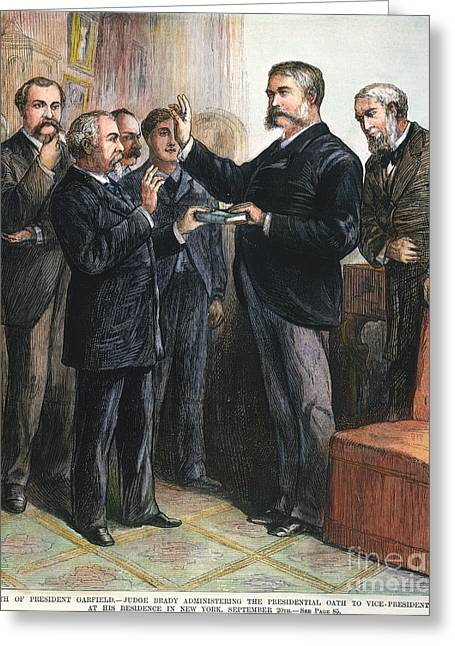 Swearing In Greeting Cards - Chester Alan Arthur: Oath Greeting Card by Granger