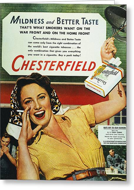 Smoker Greeting Cards - Chesterfield Cigarette Ad Greeting Card by Granger