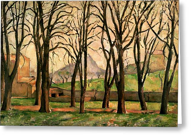 Crops Paintings Greeting Cards - Chestnut trees at the Jas de Bouffan Greeting Card by Paul Cezanne