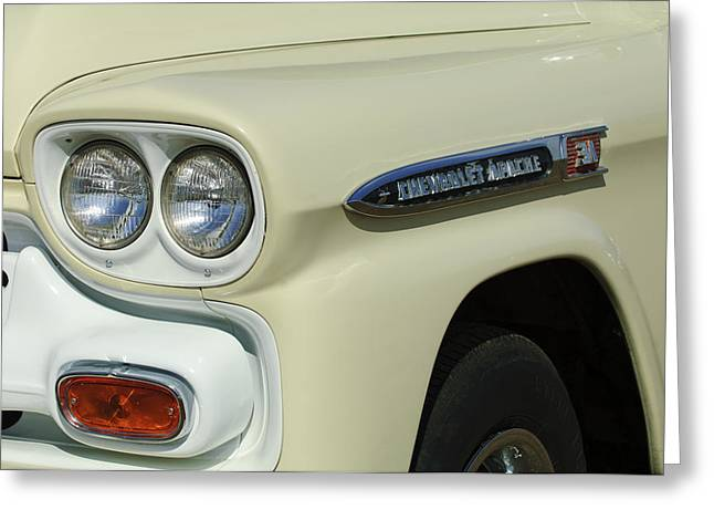 Fleetline Emblem Greeting Cards - Chevrolet Apache 31 Fleetline Headlight Emblem Greeting Card by Jill Reger