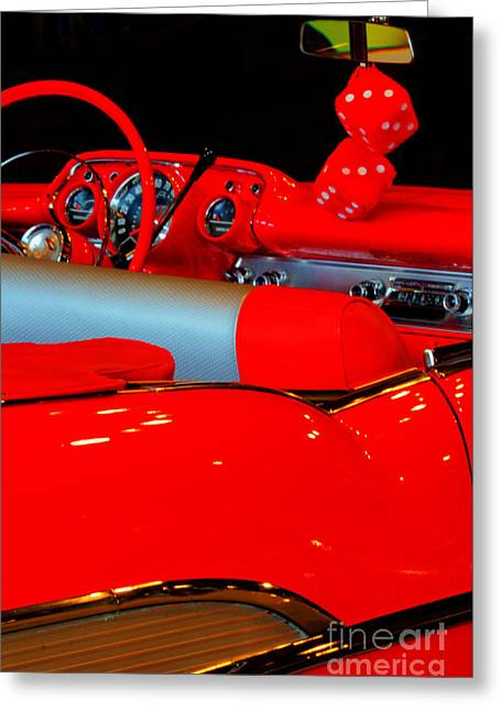 Red Chev Greeting Cards - Chevrolet Beauty In Red Greeting Card by Bob Christopher