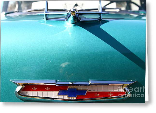 Chevrolet Bel-Air . Blue . 7D12851 Greeting Card by Wingsdomain Art and Photography