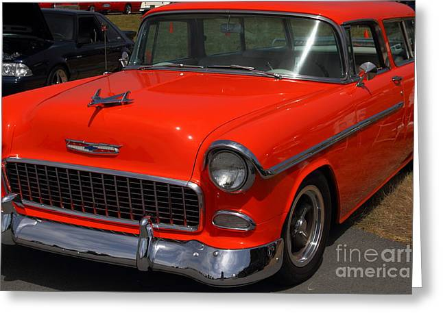 Chevrolet Bel-Air Stationwagon . Orange . 7D15268 Greeting Card by Wingsdomain Art and Photography