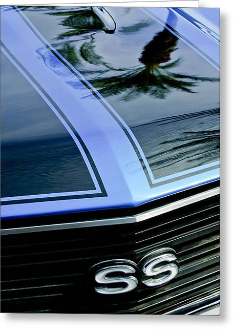 Chevelle Greeting Cards - Chevrolet Chevelle SS Grille Emblem 3 Greeting Card by Jill Reger