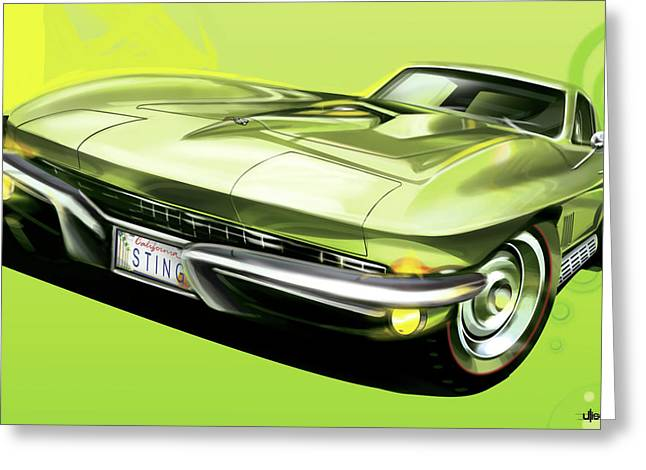 Automobile Artwork. Greeting Cards - Chevrolet Corvette C2 Sting Ray Greeting Card by Uli Gonzalez