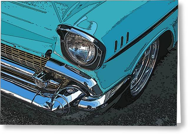 Chevy Bel Air Headlight And Bumper Greeting Card by Samuel Sheats