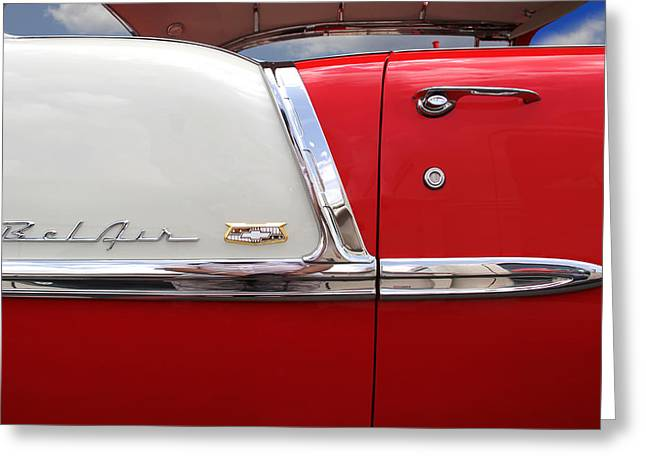 Red Street Rod Greeting Cards - Chevy Belair Classic Trim Greeting Card by Mike McGlothlen