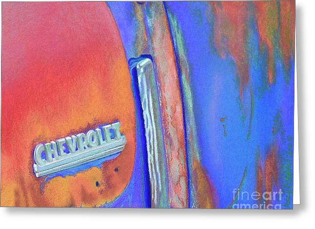 Chevrolet Pickup Truck Pastels Greeting Cards - Chevy Blues Greeting Card by Tracy L Teeter