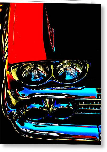 Red Photographs Greeting Cards - Chevy Greeting Card by Gwyn Newcombe