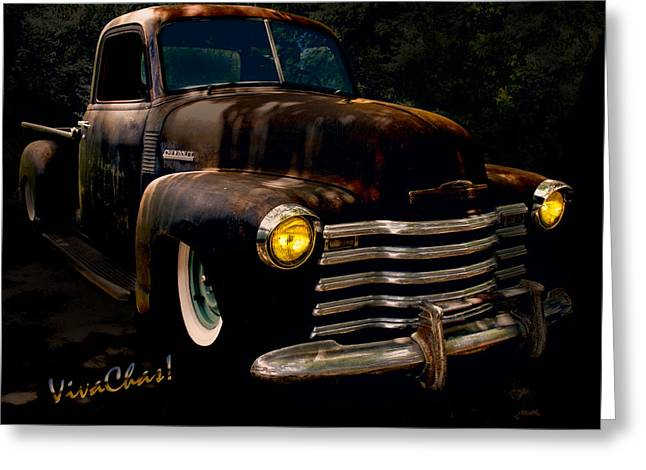 49 Chevy Greeting Cards - Chevy Hot Rat Rod Pickup Cowgirls Last Stand Greeting Card by Chas Sinklier