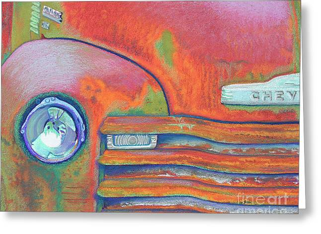 Chevrolet Pickup Truck Pastels Greeting Cards - Chevy Rust Greeting Card by Tracy L Teeter