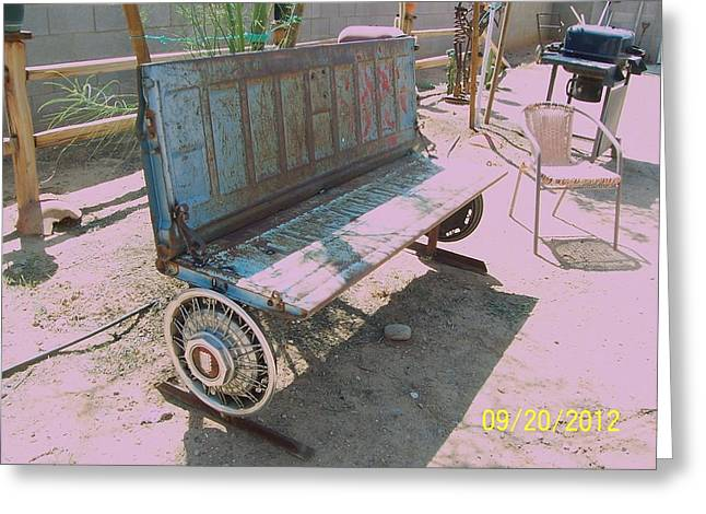 Garden Sculptures Greeting Cards - Chevy Tailgate bench Greeting Card by JP Giarde