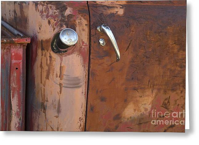 Truck Detail Greeting Cards - Chevy Truck Door Handle Detail Greeting Card by Bob Christopher