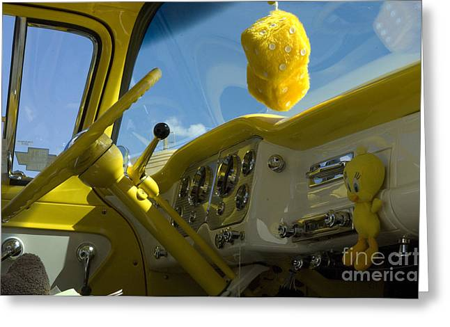 Sights Along Route 66 Greeting Cards - Chevy Truck Interior Greeting Card by Bob Christopher