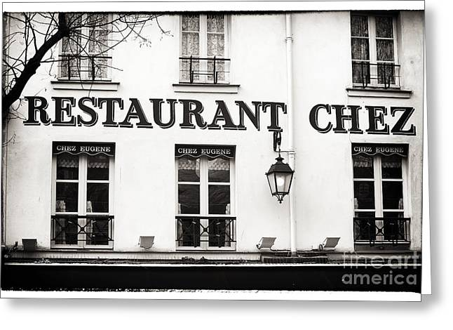 Resturant Art Greeting Cards - Chez Eugene Greeting Card by John Rizzuto