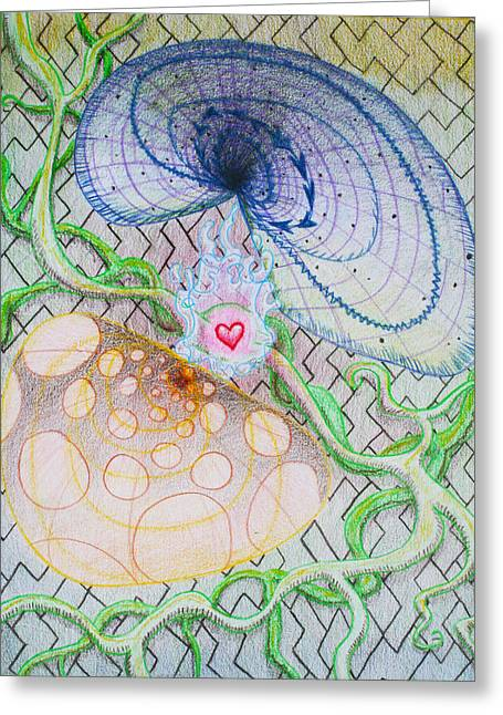 Chi Drawings Greeting Cards - CHI Cognition Heart Intuition Greeting Card by George Wagner