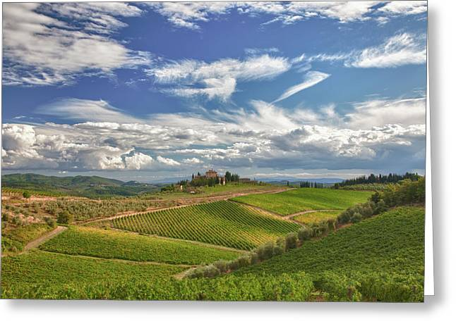 Chianti Hills Greeting Cards - Chianti Afternoon Greeting Card by Eggers   Photography
