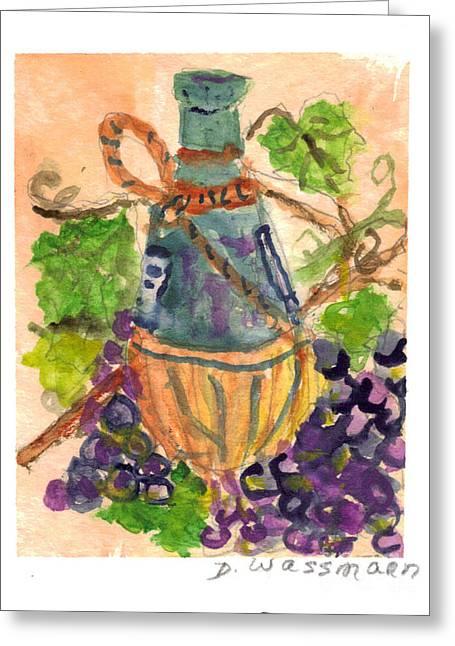 Chianti Greeting Cards - Chianti and Grapes Greeting Card by Debbie Wassmann