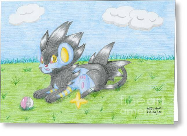 Shinx Greeting Cards - Chibi Luxray Greeting Card by Trudell Newton