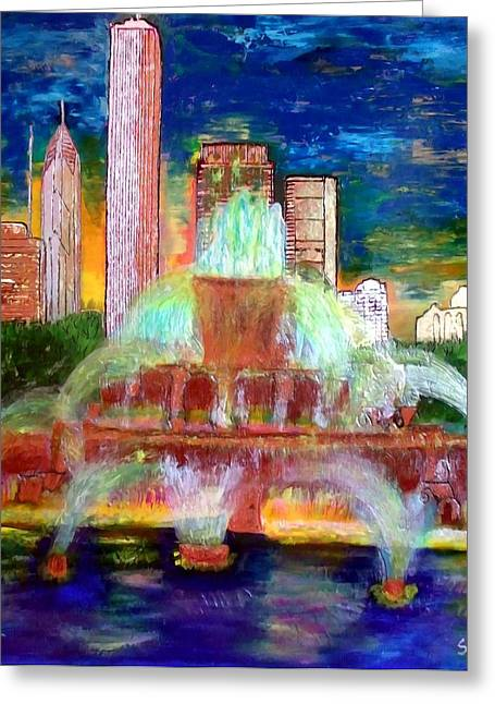 Magnificent Mile Mixed Media Greeting Cards - Chicacgo Buckingham Fountain Greeting Card by Char Swift