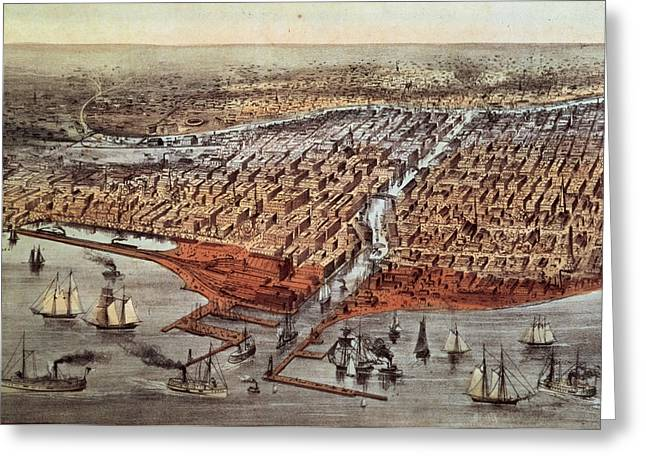 1813 Greeting Cards - Chicago As It Was Greeting Card by Currier and Ives