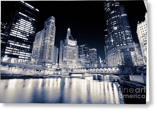 United Airline Greeting Cards - Chicago at Night at Michigan Avenue Bridge Greeting Card by Paul Velgos
