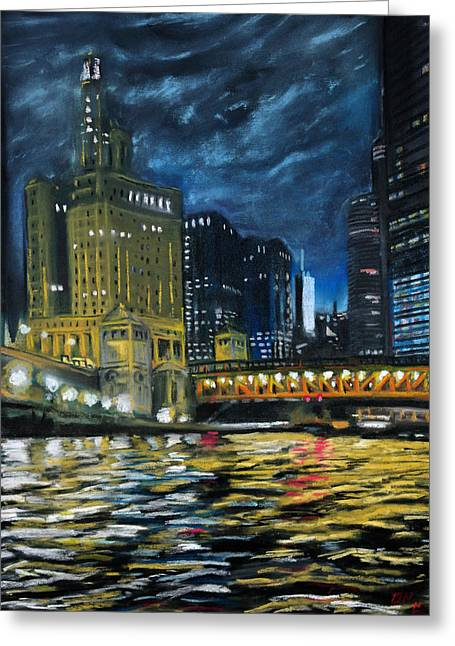 Chicago At Night Greeting Card by Bob Northway