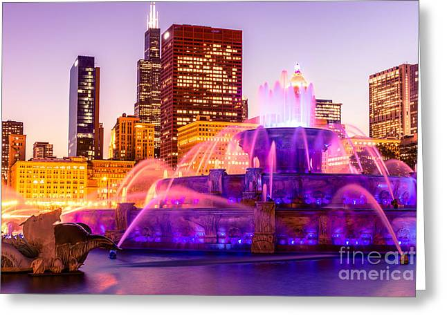Spraying Greeting Cards - Chicago at Night with Buckingham Fountain Greeting Card by Paul Velgos