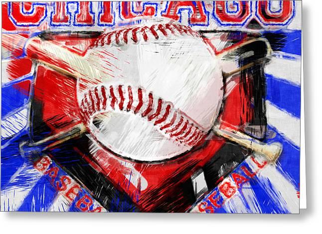 Baseball Bat Greeting Cards - Chicago Baseball Abstract Greeting Card by David G Paul