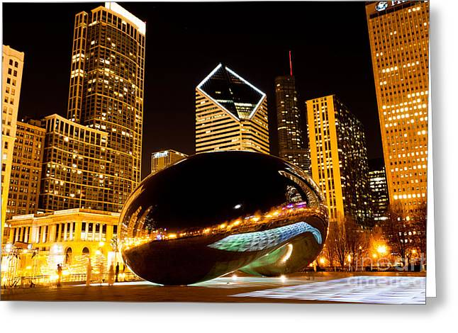 The Bean Photographs Greeting Cards - Chicago Bean Cloud Gate at Night Greeting Card by Paul Velgos